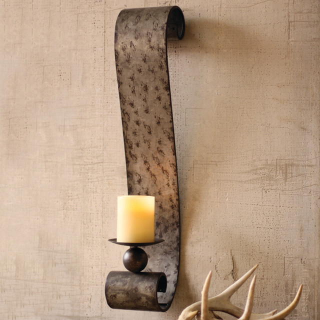 Galvanized Metal Scrolled Wall Sconce Eclectic Atlanta