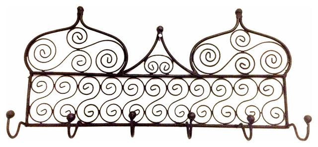 Moroccan Arabic Design Black Wrought Iron Wall Hanger