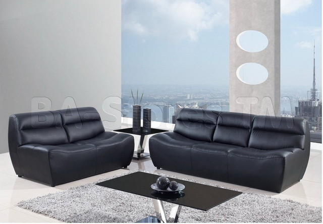 Black Bonded Leather 2 PC Armless Sofa Set Sofa and
