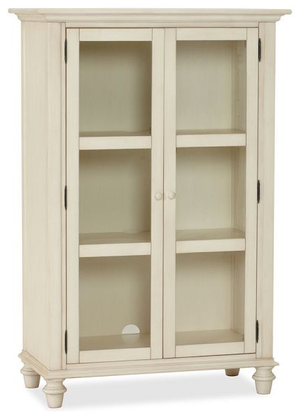 Tivoli Glass Cabinet, Almond White - Traditional - Storage Cabinets - by Pottery Barn