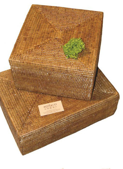 Rattan legal file box with lid - Contemporary - Baskets - by Origin Crafts