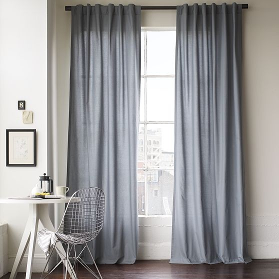 Cotton canvas window panel modern curtains by west elm for West elm window treatments