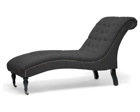 Baxton Studio - Baxton Studio Amelia Gray Linen Victorian Chaise Lounge - A sunny spot near a window is even better for reading and relaxing where the Amelia Chaise is involved. Our modern chaise lounge is Victorian-inspired with plentiful tufting, a graceful curved shape, and beautiful silver upholstery tack detail. Our Chinese craftspeople start with a solid wood frame and build upon that with very firm foam cushioning and dark charcoal gray linen upholstery. You will also love the black turned wood front legs with decorative metal wheels (note the rear legs are stationary with non-marking feet). Assembly is required and if necessary, please spot clean only. The Amelia Designer Chaise Lounge is also available in beige linen (sold separately).