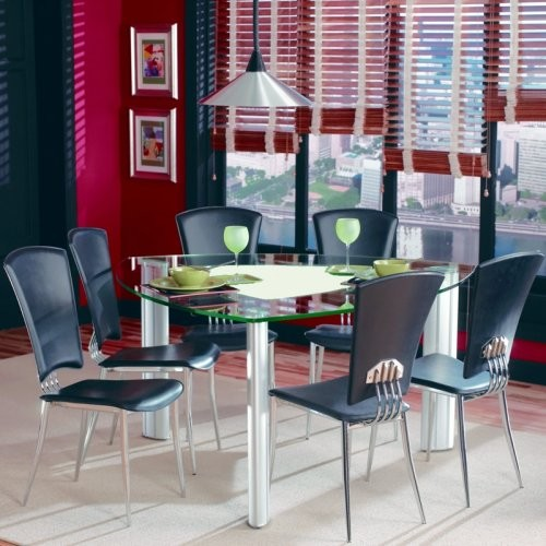 Chintaly tracy black 7 pc triangle glass top dining table set contemporary dining tables - Triangle kitchen table set ...