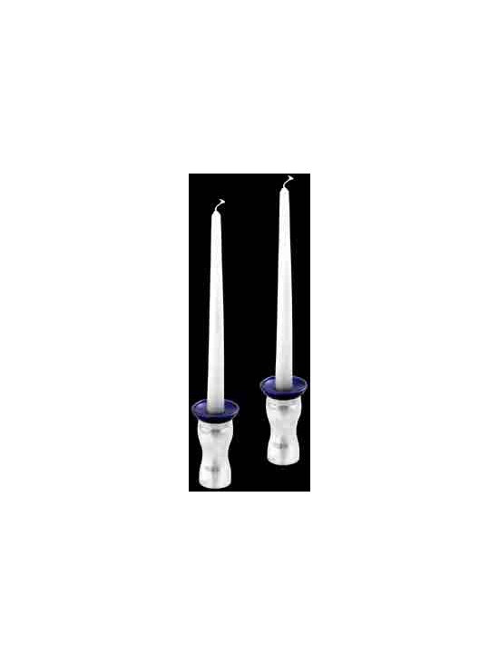 Solid Aluminum Candle Holder - Saturn Twilight Candle Holder PAIR with COBALT blue drip catcher. HEAVY & SOLID spun aluminum candle holder - perfect for outside or inside.