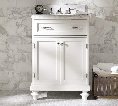 Modular Classic Single Mini Sink Console with Doors, White with White Marble traditional-bathroom-vanities-and-sink-consoles