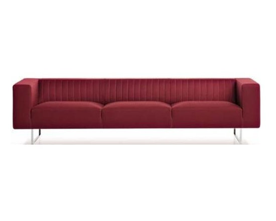 Estel - Estel | Gate 3-Seater Sofa - The Gate 3-Seater Sofa features a fixed backrest and seat with clear-cut, minimalist lines. Its load-bearing structure is made of beech and poplar wood and integrates with a spring system on metal frames and elastic bands. Upholstered in fireproof polyurethane foam, this functional and versatile sofa comes in a selection of fabric options with removable cover, or a selection of soft leathers with a fixed non-removable cover. The base is in chromed steel for a sleek finish.