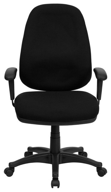 High Back Black Fabric Ergonomic Computer Chair with Height Adjustable Arms contemporary-office-chairs