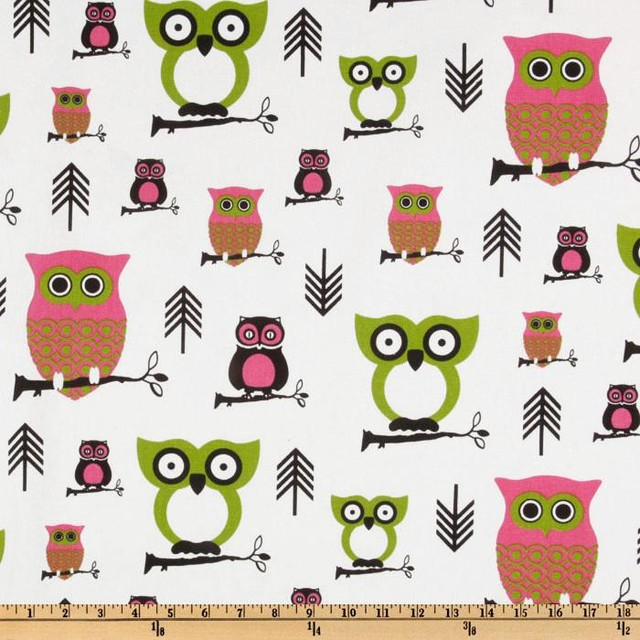 Premier Prints Hooty Owl, Candy Pink/Chartreuse eclectic wallpaper