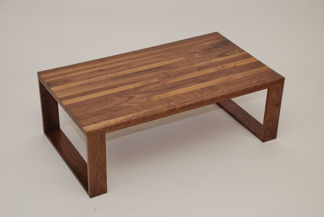 Walnut Geo Leg Coffee Table Contemporary Tables