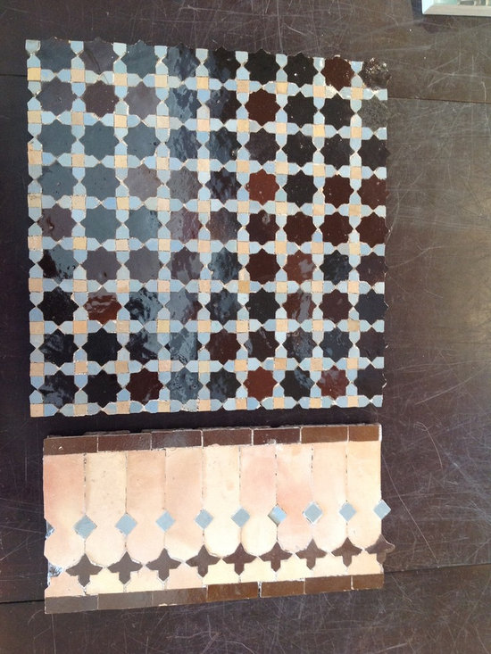 Moroccan artisan - SALE - IN STOCK - Beautiful hand cut glass & stone mosaic that was made in morocco.  Natural stone and glass with cement backing.  We currently have this stunning tile in our showroom on sale.