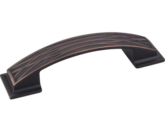 Jeffrey Alexander 535-96DBAC Cabinet Pull Handle - Aberdeen Series - Standard Si - This brushed oil rubbed bronze finish standard sized cabinet pull with crossed line design is a part of the Aberdeen Series from Jeffrey Alexander and is perfect for use on cabinet doors and drawers capable of accepting a mounted pull.