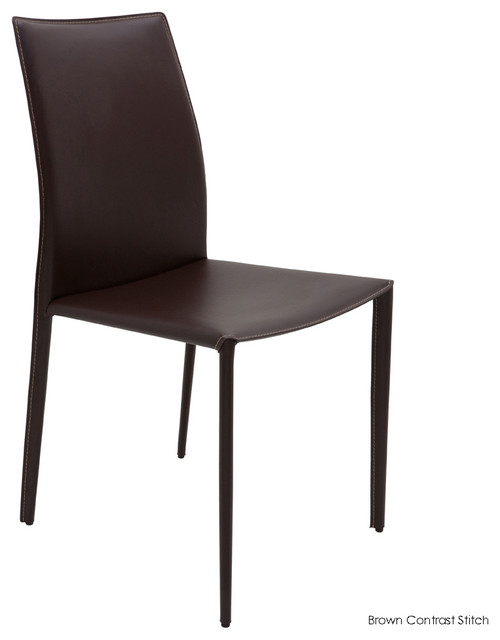 sienna dining chair set of 2 brown contrast stitch contemporary