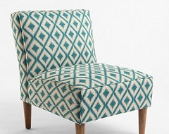 Slipper Chair, Woven Medi Ikat contemporary chairs