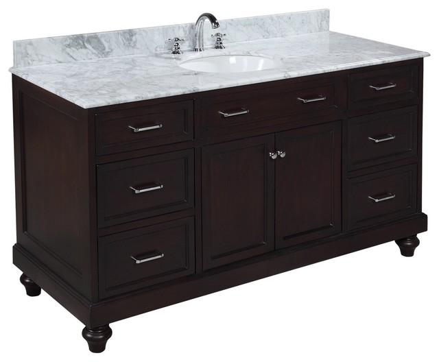 Amelia 60 in single sink bath vanity carrara chocolate Bathroom vanity storage organization