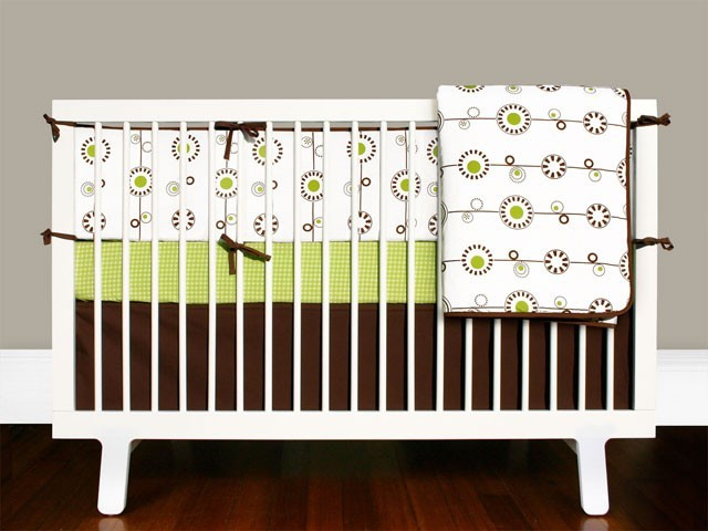 Olli lime george crib bedding set modern baby bedding by fawn forest - Modern baby bedding sets ...