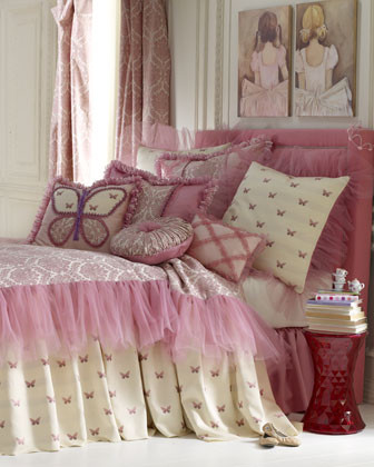 Dian Austin Couture Home Flutter Fantasy Bed Linens Silk Pillow w/ Hand-Applique traditional-bed-pillows