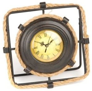 rope and metal tabletop clock maritim tischuhren von. Black Bedroom Furniture Sets. Home Design Ideas