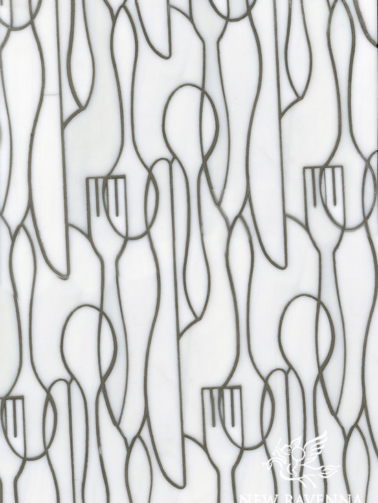 Erin Adams - Forks Knives and Spoons - Forks Knives and Spoons, a glass waterjet mosaic shown in Moonstone, is part of the Erin Adams Collection for New Ravenna Mosaics.