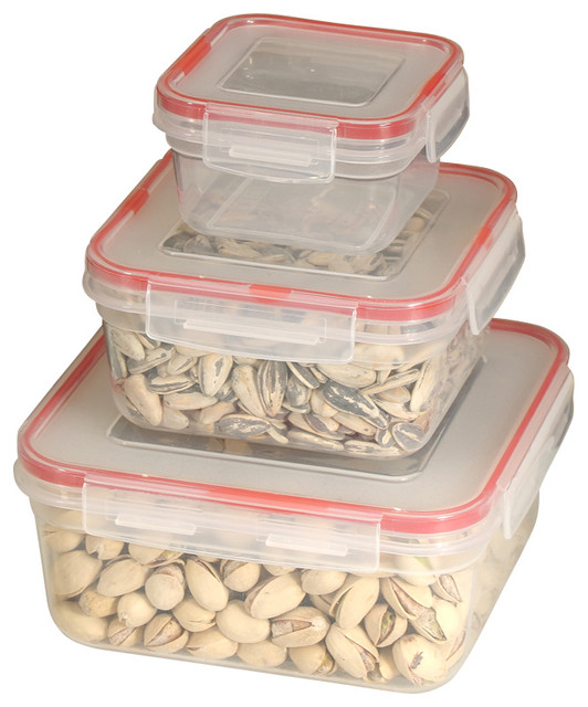6-piece Lock and Seal Container Set with Square Lids contemporary-food-containers-and-storage