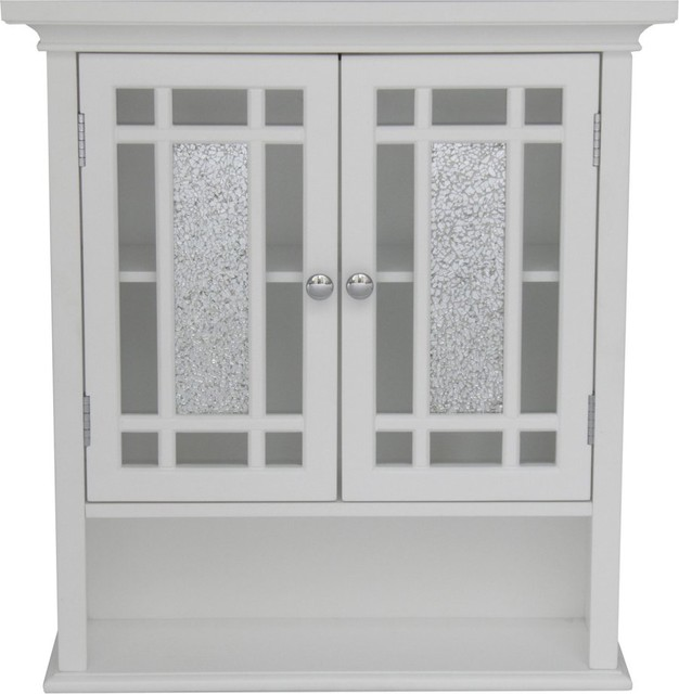 Elegant Home Windsor White Bathroom Wall Cabinet with 2 Doors and 1 Shelf - Modern - Bathroom ...