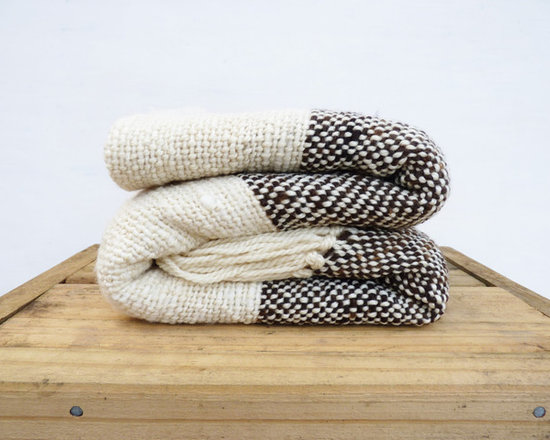 Organic Black and White Wool Handwoven Blanket by Texturable -
