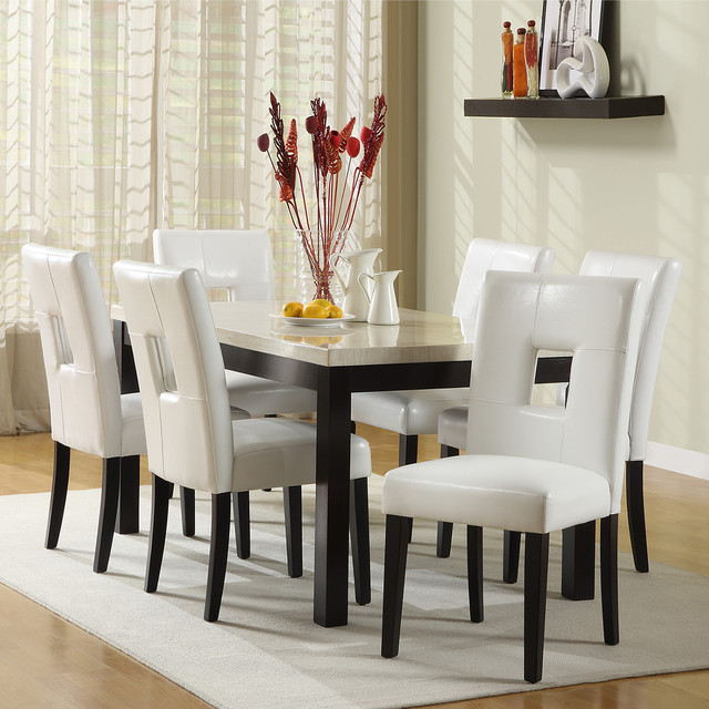 TRIBECCA HOME Mendoza White 7 Piece Modern Casual Dining Set contemporary-dining-sets
