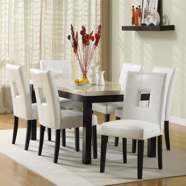 TRIBECCA HOME Mendoza White 7 Piece Modern Casual Dining Set contemporary-dining-sets