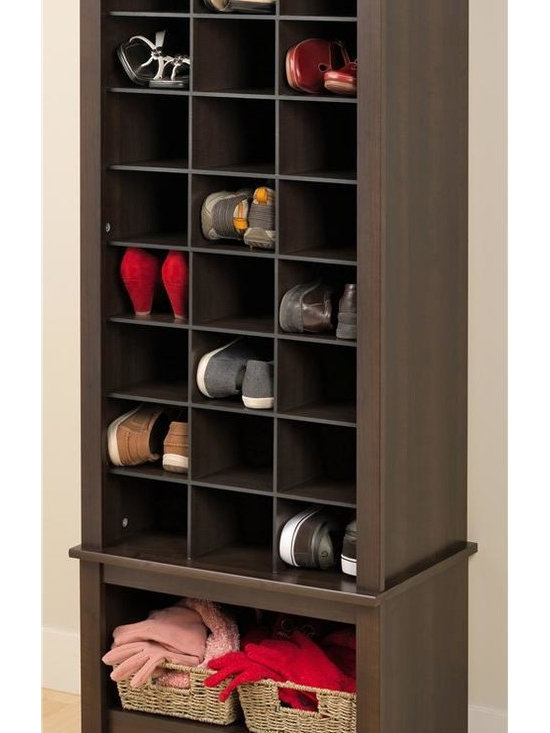 Prepac - Tall Shoe Cubbie Cabinet - Twenty four spacious cubbies can fit mens size thirteen shoes. Large bottom compartment. Sturdy MDF backer. Warranty: Five years. Made from CARB-compliant, laminated composite woods. Hide-the-scuffs espresso finish. Made in North America. Cubbie: 6.5 in. W x 14 in. D x 5 in. H. Overall: 24.75 in. W x 15.75 in. D x 61.25 in. HDont hide your favorite shoes at the back of the closet! Our stylish tall shoe storage cabinet is a perfect fit for any foyer, mudroom, entryway or bedroom.