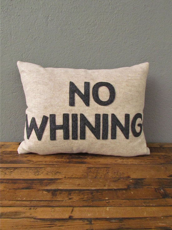 no whining pillow 14 x 18 – oatmeal + charcoal - view this item on our website for more information + purchasing availability: http://redinfred.com/shop/category/free-shipping/no-whining-pillow-14-x-18-oatmeal-charcoal/