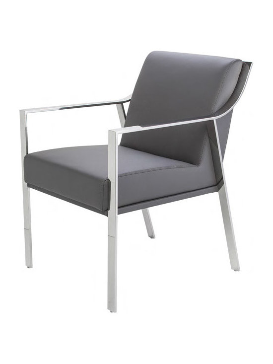 Valentine Arm Chair - Valentine chair is a padded chair upholstered in naugahyde leather and an attractive polished stainless steel frame. Valentine features sleek lines and a modern look sure to grab attention in any room. Suitable for home or contract sectors. Available in grey, white or black. Dimensions: 23 x 26¾ x 32½ inches.