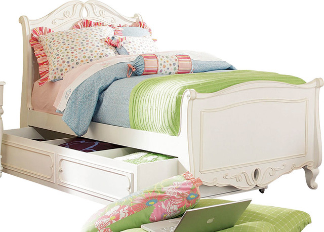 Lea Elite Vintage Boutique Storage Sleigh Bed in Vintage White - Twin traditional-kids-beds