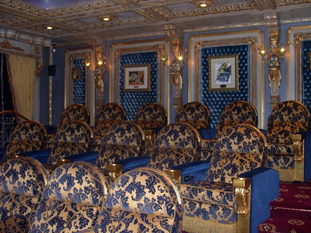 DRAPERIES/WINDOW TREATMENTS traditional-home-theater