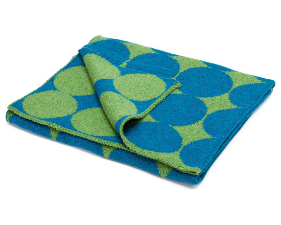 "in2green - Eco Baby Dots Reversible Throw, Avocado/Teal - Our throws are all knit in the USA with a blend of recycled cotton yarn (74% recycled cotton yarn, 24% acrylic, 2% other), generously sized at 50"" x 60"" and machine wash and dry...how easy is that!"