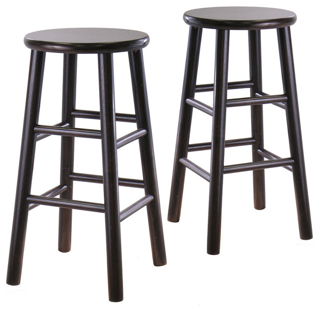 Set of 2 24 in.  Bevel seat stools - Dark Espresso modern-bar-stools-and-counter-stools
