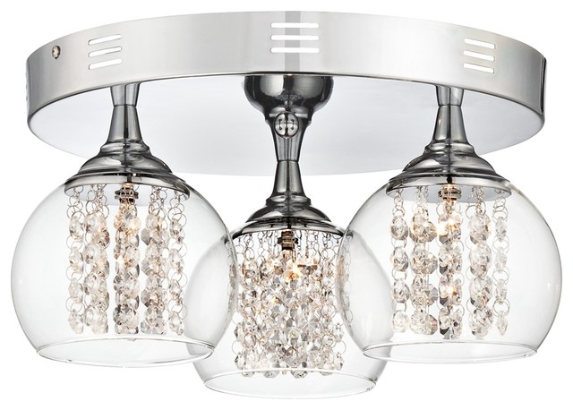 """Possini Euro Encircled Crystal 15 1/2"""" Wide Ceiling Light contemporary-ceiling-lighting"""