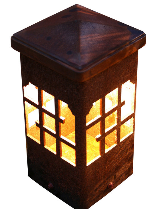 """Attraction Lights - Bollard light-Lantern-Decorative steel light fixture, 12"""" - The 6 x 6 Bollard light is 42""""  tall and is perfect for illuminating steps and entryways and it also makes a great piece of functional steel art or sculpture for your back yard by the patio or within perennial flower beds.  If your tired of the same old boring path lights and are ready for something unique and different,  these sculptural steel pieces really make a statement.  Anchored on a concrete footing, not even the biggest dog will not knock them over.  Standard 12 volt lighting that can be modified to 120 volt. The lights come standard with a 2700k (warm white color) LED light bulb.  This particular pattern is from our Lantern series and is perfect for nautical and woodsy settings."""
