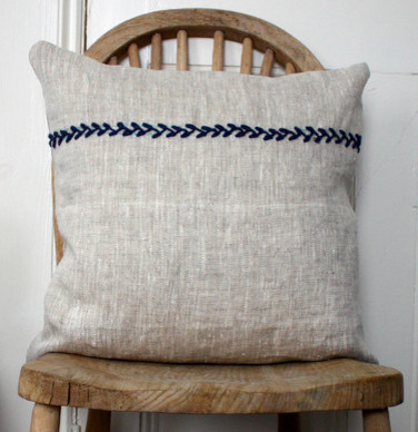 Simplicity Embroidered Linen Cushion Cover modern-decorative-pillows