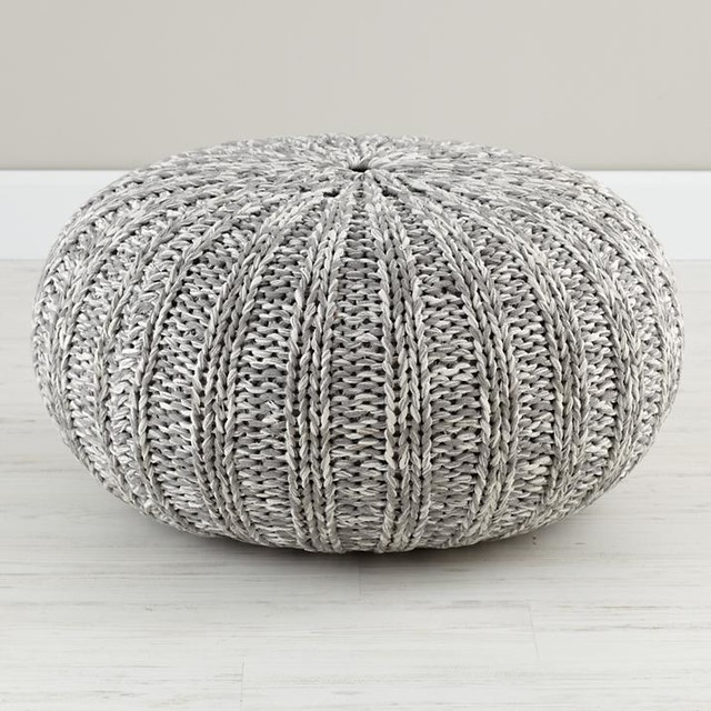 Varigated Gray Pouf contemporary-ottomans-and-cubes