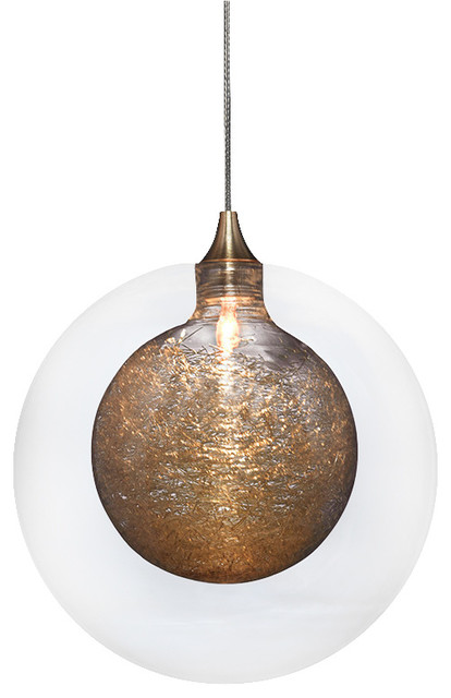 Kadur Glass Pendant Light, Clear with Gold Inner contemporary-pendant-lighting