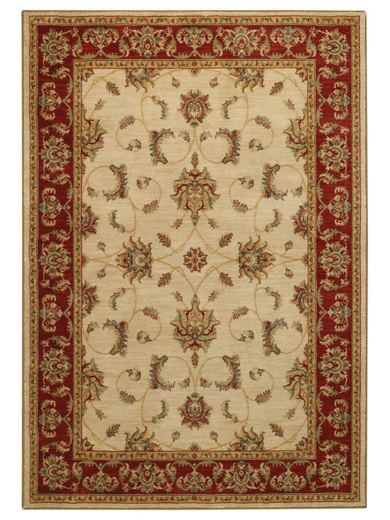 Honour Acanthus rug in Ivory Red - The Honour Collection boasts space dyed yarns in a cross woven construction for a unique old world feel.