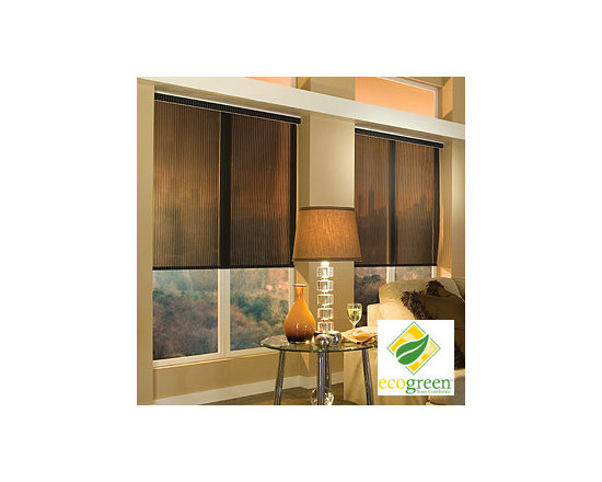 Comfortex - Comfortex Envision Roller Shades: EcoGreen Aurora - The new EcoGreen line of roller shades offers stylish and environmentally friendly fabrics that are PVC-free and fully recyclable.  Aurora features vertical colored stripes with narrow sheer striping.