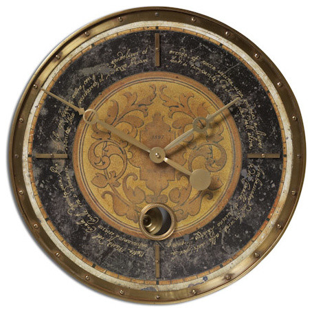 "Leonardo Script 18"" Black Wall Clock traditional-wall-clocks"