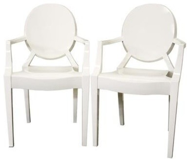 Wholesale Interiors - Baxton Studio Ivory Acrylic Ghost Arm Chair Set of 2 - PC- modern-dining-chairs