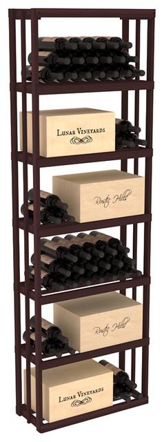 Rectangular Wine Storage Bin in Redwood, Walnut contemporary-wine-racks
