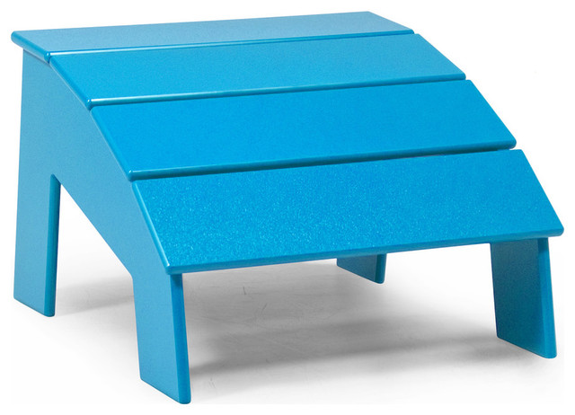 4 Slat Ottoman, Sky Blue contemporary-outdoor-stools-and-benches