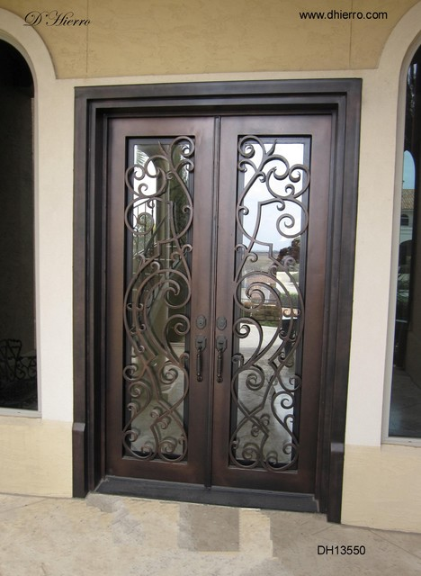 Iron doors exterior eclectic exterior other metro for Exterior double doors with glass