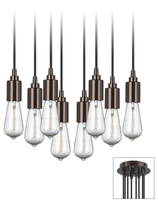 """Lamps Plus - Contemporary Europa 1910 Edison Bulb Bronze Multi Light Pendant - This antique bronze swag chandelier offers glamour and chic industrial style. The design features 8 lights that hang from the top canopy. Canopy mounts to ceiling junction box like any regular fixture. Included standoff mounts anchor into the ceiling then the light cords swag from the canopy to the standoff mounts and can arranged as desired. Eight 1910-style Edison bulbs are included that cast a romantic flicker. 8-feet of cord per light. Antique bronze finish canopy standoffs and hanging sockets. Black cord. Includes canopy cord 8 lights standoffs screws and ceiling anchors. Each light takes one 40 watt bulb (not included). Canopy is 7"""" across. Sockets are 4"""" long. Standoffs with cap are 4"""" long.  8 light adjustable swag chandelier.  Antique bronze finish canopy.  Includes canopy cord 8 bulbs standoffs screws and ceiling anchors.  Includes eight 1910 style Edison bulbs.  8-feet of cord per light.  Black cord.  40 watt bulb maximum for each socket.  Canopy is 6"""" across.  Sockets are 4"""" long.  Standoffs with cap are 4"""" long."""