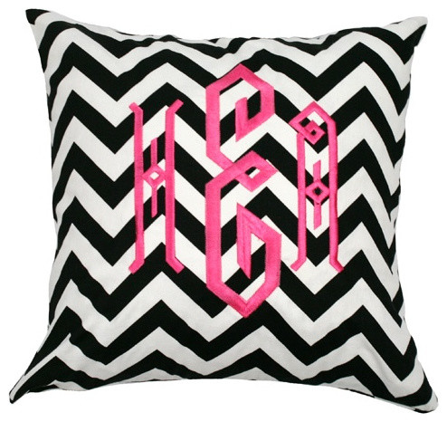 Monogrammed Black and White Chevron Throw Pillow eclectic pillows