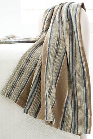 Blue Heron Stripe Woven Cotton Throw contemporary-throws